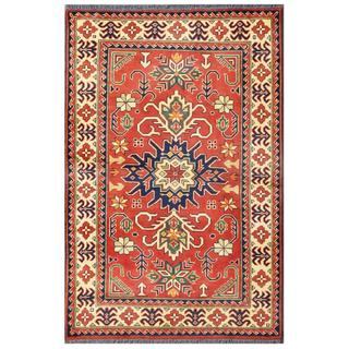 Herat Oriental Afghan Hand-knotted Tribal Karghai Red/ Ivory Wool Rug (3'3 x 5')