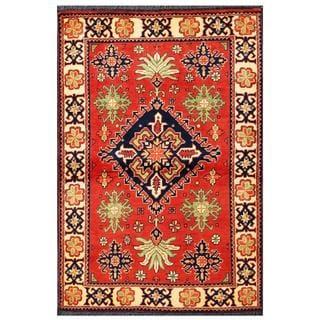 Herat Oriental Afghan Hand-knotted Tribal Kargahi Red/ Navy Wool Rug (3'6 x 5'2)