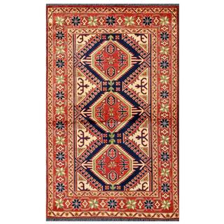 Herat Oriental Afghan Hand-knotted Tribal Karghai Navy/ Red Wool Rug (3'5 x 5'5)