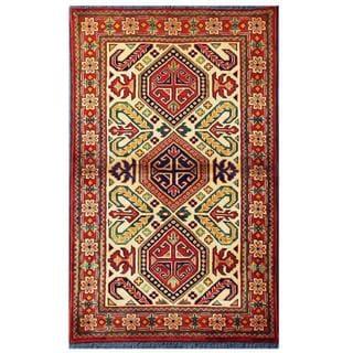 Herat Oriental Afghan Hand-knotted Tribal Kargahi Ivory/ Red Wool Rug (2'8 x 4'3)