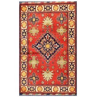 Herat Oriental Afghan Hand-knotted Tribal Kargahi Red/ Navy Wool Rug (3'4 x 5'3)