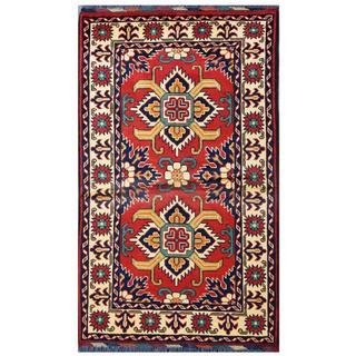 Herat Oriental Afghan Hand-knotted Tribal Kargahi Red/ Ivory Wool Rug (2'7 x 4'5)
