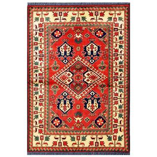 Herat Oriental Afghan Hand-knotted Tribal Karghai Red/ Ivory Wool Rug (3'5 x 4'11)