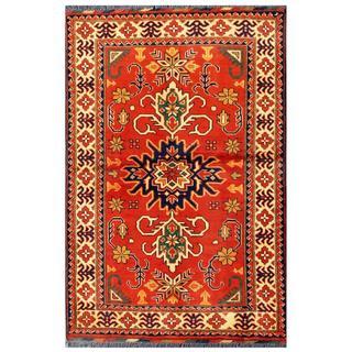 Herat Oriental Afghan Hand-knotted Tribal Kargahi Red/ Ivory Wool Rug (3'4 x 4'10)