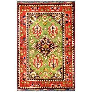Herat Oriental Afghan Hand-knotted Tribal Kargahi Green/ Ivory Wool Rug (3'4 x 4'11)