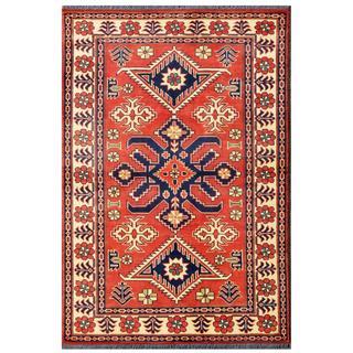 Herat Oriental Afghan Hand-knotted Tribal Kargahi Red/ Navy Wool Rug (3'5 x 5')