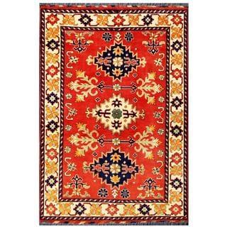 Herat Oriental Afghan Hand-knotted Tribal Karghai Red/ Ivory Wool Rug (3'5 x 4'10)