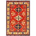 Herat Oriental Afghan Hand-knotted Tribal Karghai Red/ Ivory Wool Rug (3'5 x 4'10)
