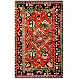 Herat Oriental Afghan Hand-knotted Tribal Karghai Red/ Navy Wool Rug (3'3 x 5'3)