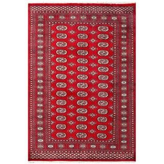 Herat Oriental Pakistai Hand-knotted Bokhara Red/ Tan Wool Rug (4'5 x 6'6)