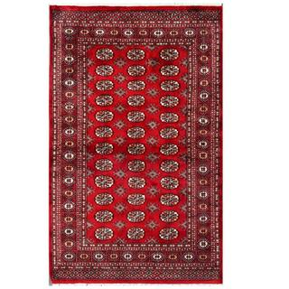 Herat Oriental Pakistani Hand-knotted Bokhara Red/ Tan Wool Rug (4' x 6'4)