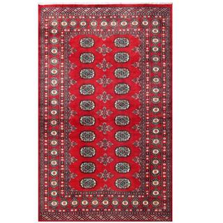 Herat Oriental Pakistani Hand-knotted Bokhara Red/ Tan Wool Rug (3'11 x 6'4)