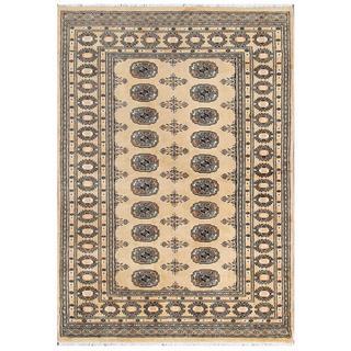 Herat Oriental Pakistani Hand-knotted Bokhara Beige/ Tan Wool Rug (4'1 x 5'11)