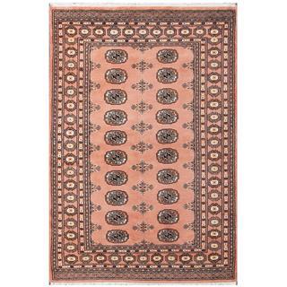 Herat Oriental Pakistani Hand-knotted Bokhara Pink/ Tan Wool Rug (4' x 6')