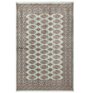 Herat Oriental Pakistani Hand-knotted Bokhara Green/ Red Wool Rug (4'2 x 6'4)