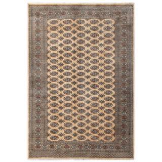 Herat Oriental Pakistani Hand-knotted Bokhara Beige/ Green Wool Rug (6'1 x 8'10)