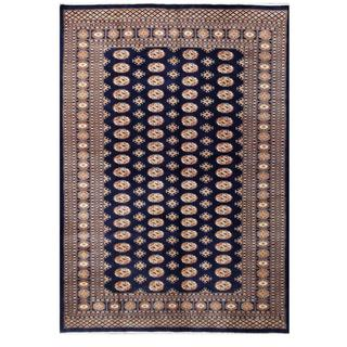 Herat Oriental Pakistani Hand-knotted Bokhara Navy/ Tan Wool Rug (6'4 x 9'1)