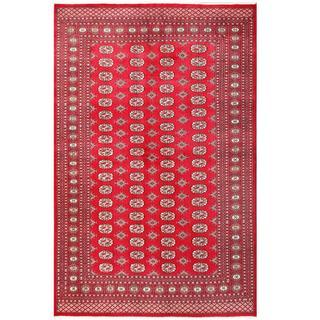 Herat Oriental Pakistani Hand-knotted Bokhara Red/ Grey Wool Rug (6' x 9'2)