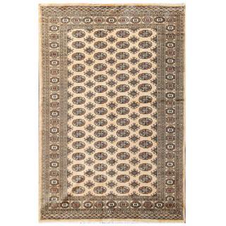 Herat Oriental Pakistani Hand-knotted Bokhara Beige/ Tan Wool Rug (5'6 x 8'2)