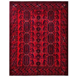 Herat Oriental Afghan Hand-knotted Tribal Khal Mohammadi Red/ Navy Wool Rug (5' x 6'4)