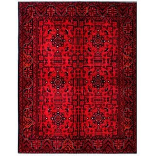 Herat Oriental Afghan Hand-knotted Tribal Khal Mohammadi Red/ Navy Wool Rug (4'9 x 6'5)