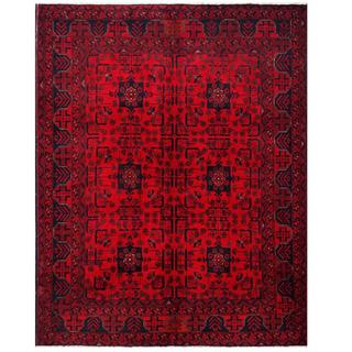 Herat Oriental Afghan Hand-knotted Tribal Khal Mohammadi Red/ Navy Wool Rug (4'10 x 6'2)