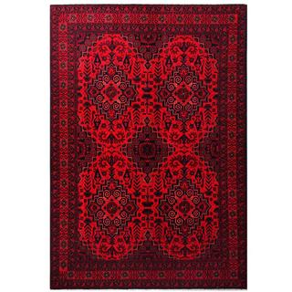 Herat Oriental Afghan Hand-knotted Tribal Khal Mohammadi Red/ Navy Wool Rug (6'7 x 9'7)