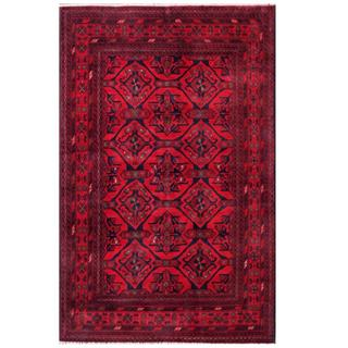 Herat Oriental Afghan Hand-knotted Tribal Khal Mohammadi Red/ Navy Wool Rug (4'1 x 6'5)