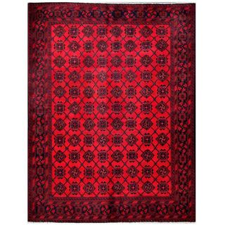 Herat Oriental Afghan Hand-knotted Tribal Khal Mohammadi Red/ Navy Wool Rug (4'9 x 6'3)