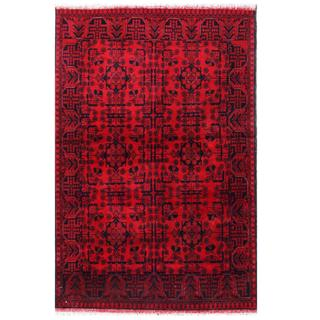Herat Oriental Afghan Hand-knotted Tribal Khal Mohammadi Red/ Navy Wool Rug (4'1 x 6'4)