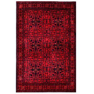 Herat Oriental Afghan Hand-knotted Tribal Khal Mohammadi Red/ Navy Wool Rug (4'2 x 6'5)