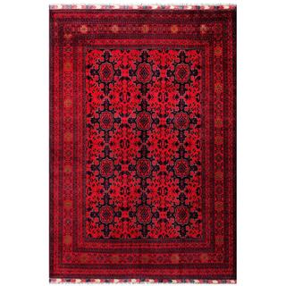 Herat Oriental Afghan Hand-knotted Tribal Khal Mohammadi Red/ Navy Wool Rug (6'7 x 9'6)