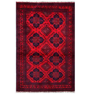 Herat Oriental Afghan Hand-knotted Tribal Khal Mohammadi Red/ Navy Wool Rug (3'2 x 5'1)