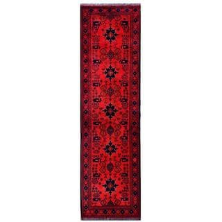 Herat Oriental Afghan Hand-knotted Tribal Khal Mohammadi Red/ Navy Wool Rug (2'8 x 9'6)
