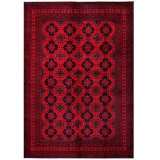 Herat Oriental Afghan Hand-knotted Tribal Khal Mohammadi Red/ Navy Wool Rug (6'8 x 9'7)