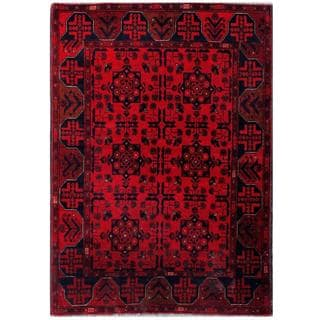 Herat Oriental Afghan Hand-knotted Tribal Khal Mohammadi Red/ Navy Wool Rug (3'4 x 4'9)