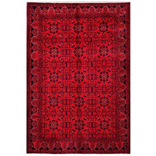 Herat Oriental Afghan Hand-knotted Tribal Khal Mohammadi Red/ Navy Wool Rug (6'4 x 9'6)