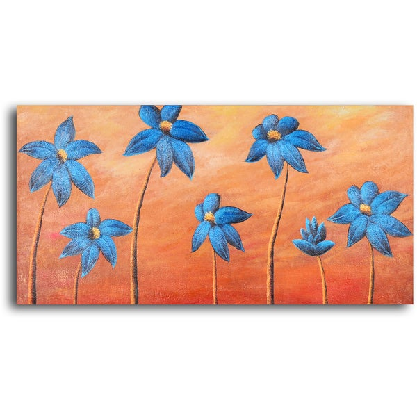 Hand-painted 'Dancing Blue Daisies' Oil Painting