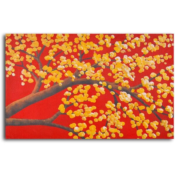 Hand-painted 'Luminous Cherry Blossom ' Oil Painting