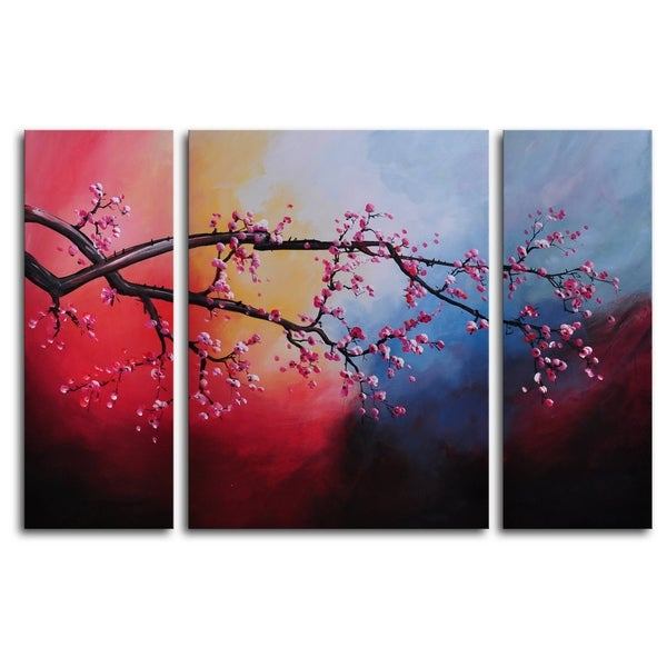 Hand-painted 'Cotton Candy Sky Blossom' Oil Painting 13051706