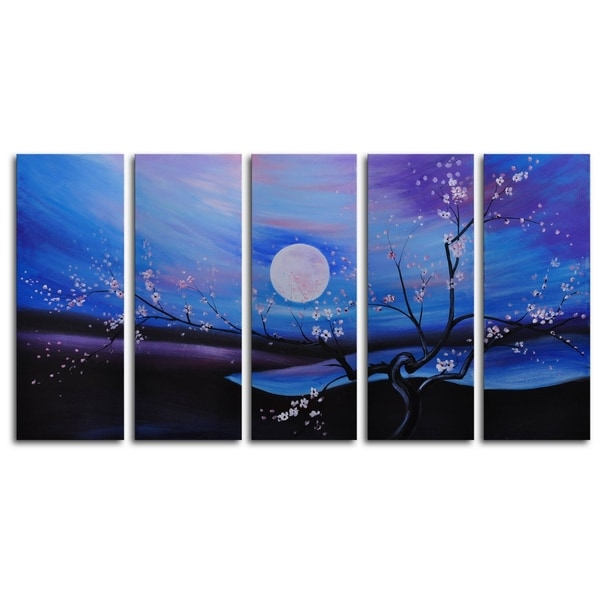 Hand-painted 'Moonlit Pond' Oil Painting 13051712