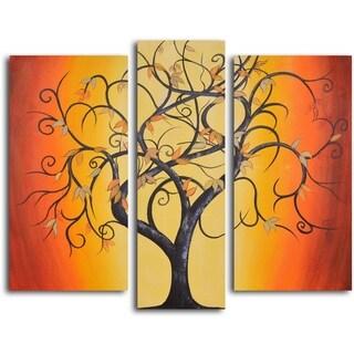 Hand-painted 'Thai Tree Dance' Oil Painting