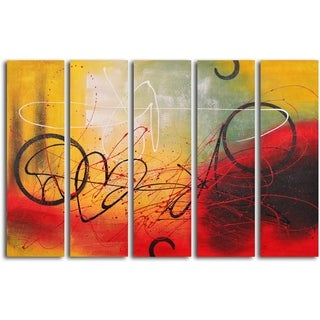 Hand-painted 'Graffiti on Copper' Oil Painting
