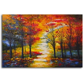 Hand-painted 'Autumn Path Through Woods' Oil Painting