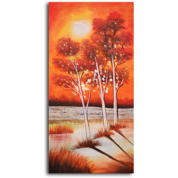 Hand-painted 'Trio of Moonlit Trees' Oil Painting 13051778