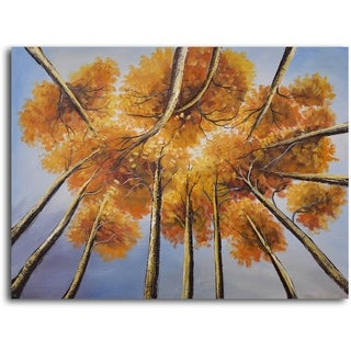 Hand-painted 'Golden Treetops' Oil Painting