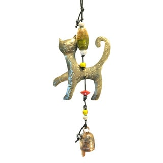 Handmade Prancy Cat Wind Chime (India)
