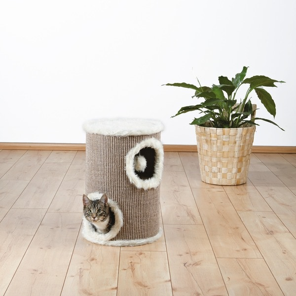 Trixie Edoardo 20-inch Two-story Long-haired Plush Cat Tower