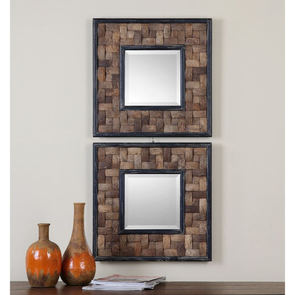 Uttermost Barros Distressed Black Square Mirror (Set of 2)