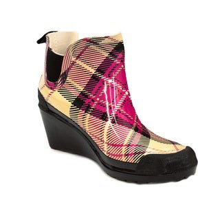 Women's Pink Plaid Short Ankle Rain Boots